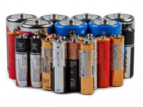 Batteries and accumulators on a white background.